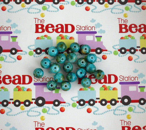 10mm Cyan Mottled Beads