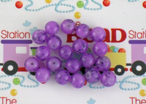 10mm Violet Mottled Beads