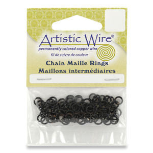 Artistic Wire 18ga ID 15/64 Jump Rings ~ Black