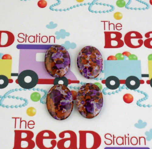 18mmx13mm Orange & Purple Speckled Cabochon