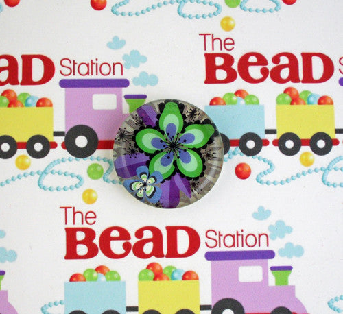 33mm Round Glass Cabochon ~ Blue/Green Flower