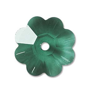 Swarovski 10mm Emerald Margarita/Flower Bead