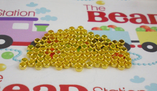 Gold Plated 3mm Crimps ~ Round