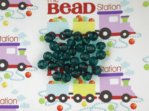 Teal 6x8mm Rondelle Faceted Crystal Beads