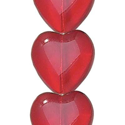 Transparent Siam Glass Heart Shaped Beads (12x11mm)