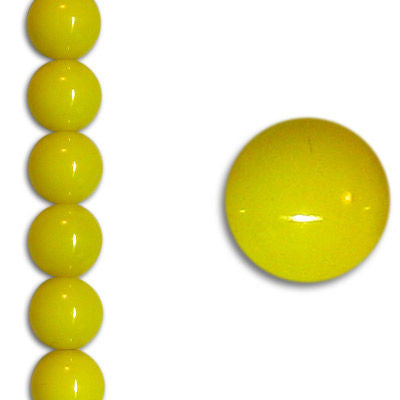 Czech 8mm Neon Yellow Party Pearl Strand - Round