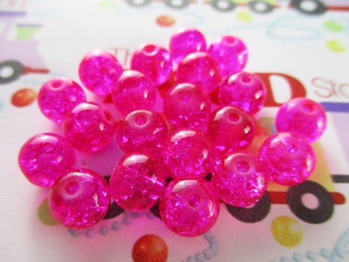 8mm Fuchsia Crackle Beads