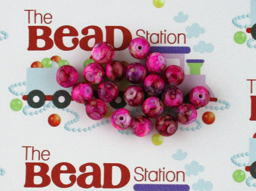 8mm Magenta Mottled Beads