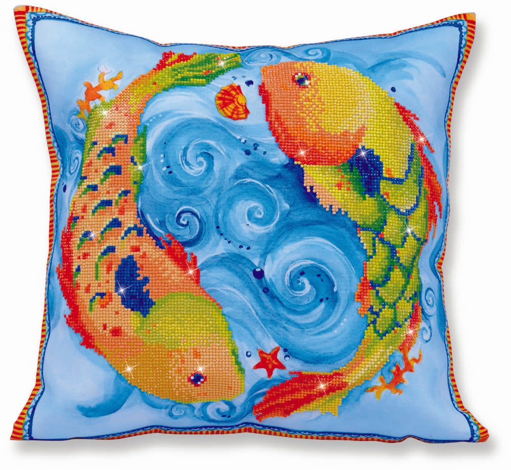 Diamond Dotz Decorative Pillow - Dancing Fish