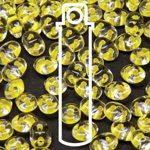 Superduo Crystal Yellow Lined Beads - 24g Tube