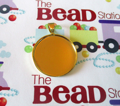 25mm Gold Plated Brass Setting ~ Round