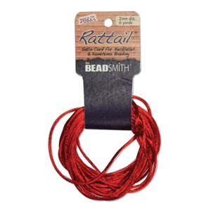 Satin Rattail 2mm Cord ~ Red