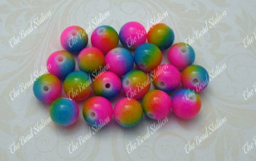 8mm Rainbow Glass Beads