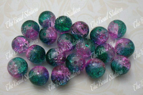 10mm Cyan & Pink Crackle Beads