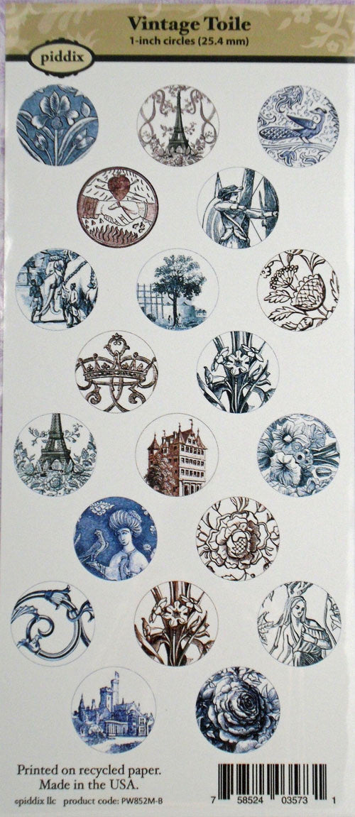 Vintage Toile 1 Inch Circle Images ~ Piddix