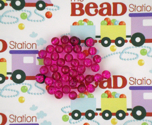 6mm Hot Pink Crackle Beads