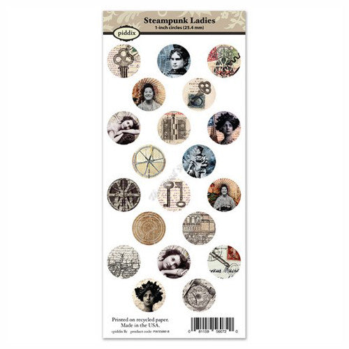 Steampunk Ladies 1 Inch Circle Images ~ Piddix