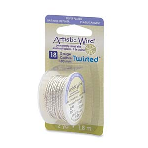 Artistic Wire Twisted Tarnish Resistant Silver 18GA - Dispenser Pack
