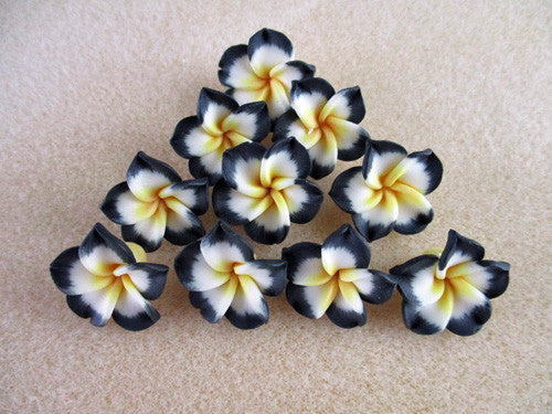 Black & White Polymer Clay Flower Beads