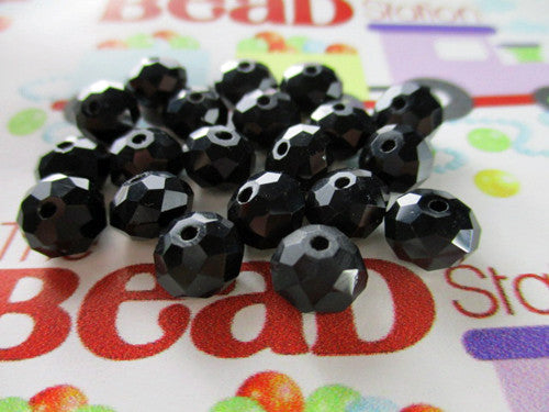Black 8x6mm Rondelle Faceted Crystal Beads