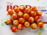 8mm Deep Orange Mottled Beads