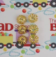 Gold Plated 12mm Bead Cap ~ Round Fancy
