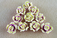 Fuchsia & Yellow Polymer Clay Flower Beads
