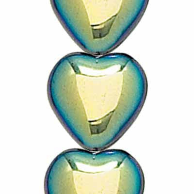 Jet AB Opaque Glass Heart Shaped Beads (12x11mm)