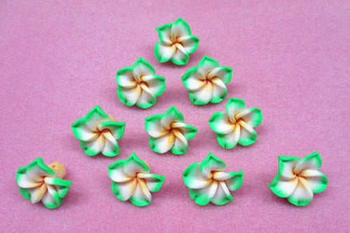 Green & White Polymer Clay Flower Beads