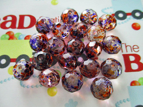 Purple & Orange Speckled Rondelle Beads