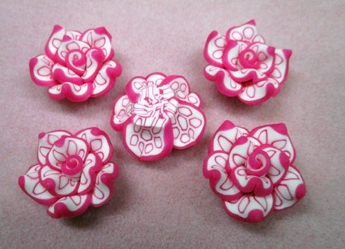 26mmx11mm Pink Polymer Clay Flower Pendant