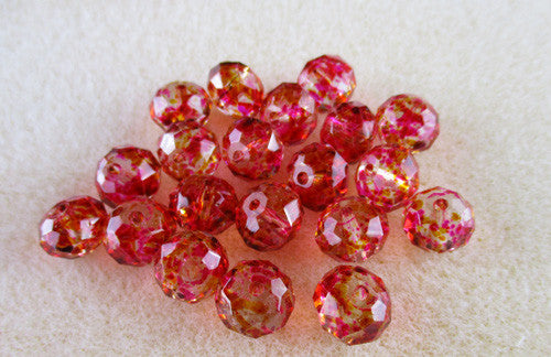 Pink & Yellow Speckled Rondelle Beads