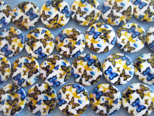 Blue & Yellow Butterfly Shell Beads