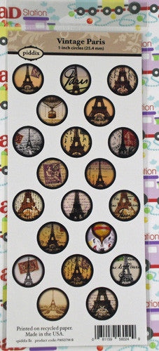 Vintage Paris 1 Inch Circle Images ~Piddix