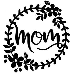 Mom with flower wreath design