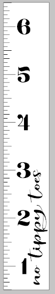 Growth Ruler - No tippy toes vertical 11.5x72