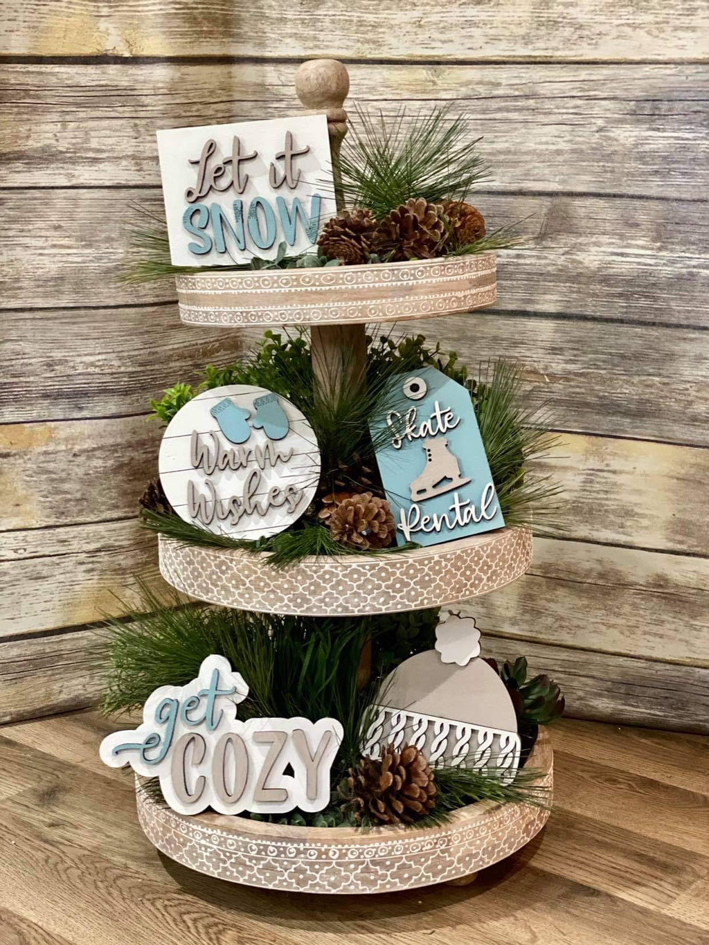 3D Tiered Tray Decor - Winter