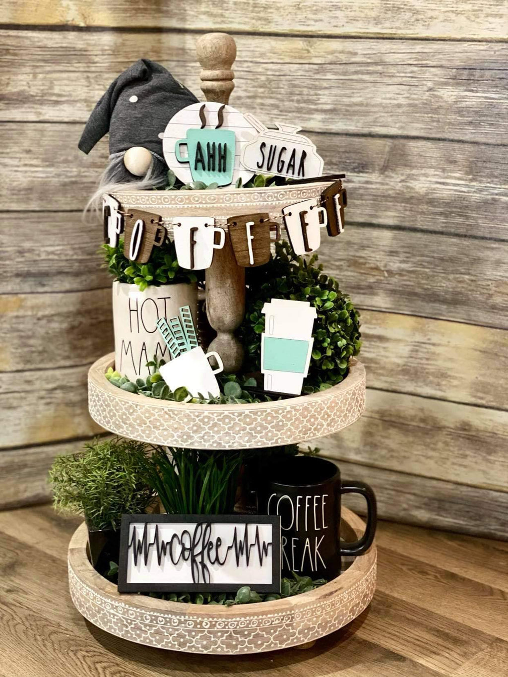 3D Tiered Tray Decor - Coffee