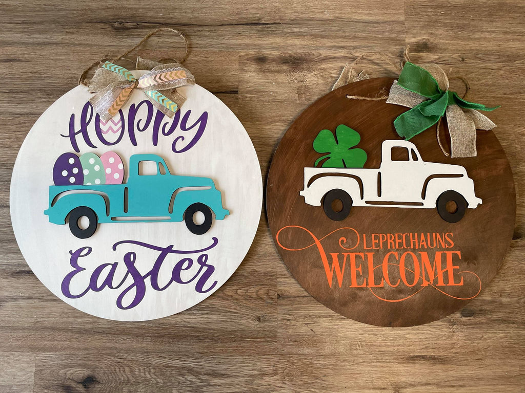 3D Door hanger Reversible truck - St Patrick's Day and Easter