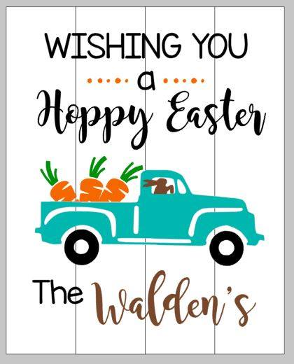 Wishing you a happy Easter with truck and Family name
