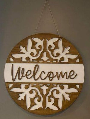 3D Door hanger Welcome with Split Design