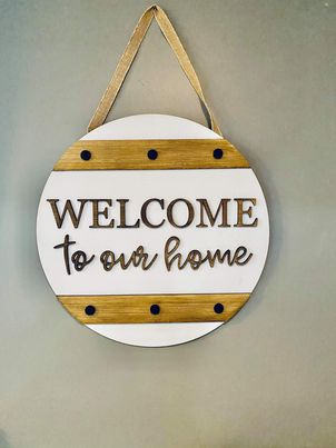 3D Door hanger Welcome to our home with faux bolts