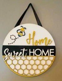 3D Door hanger Home sweet Home with Bee