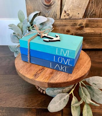 Tiered Tray Mini Book Stack - Live Love Lake