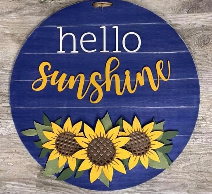 3D Door hanger Hello Sunshine with Sunflowers