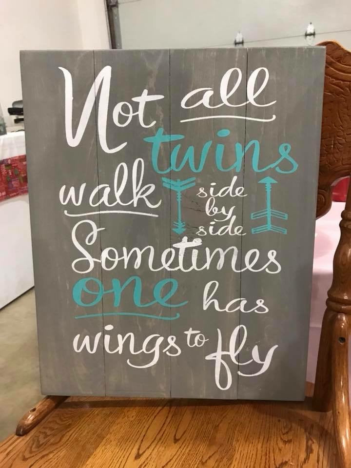 Not all twins walk side by side sometimes one has wings to fly