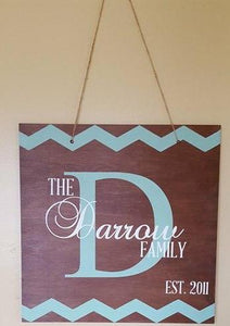 Door hanger Chevron with Family name and est