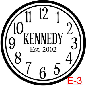 Clock - Numbers with Circle border insert last name/est date (E-3)