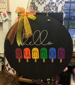Door hanger - Hello Summer with popsicles