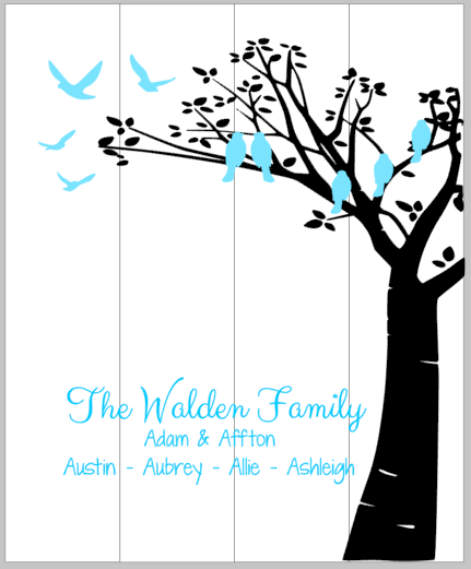 Tree with birds-Family name, couples name and children's names